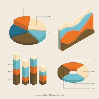 Collection isométrique des graphiques utiles pour infographies