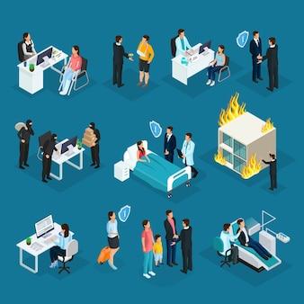 Collection isométrique de personnes et d'assurance
