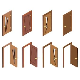 Collection isométrique de portes. portes 3d en bois fermées, ouvertes et plates.