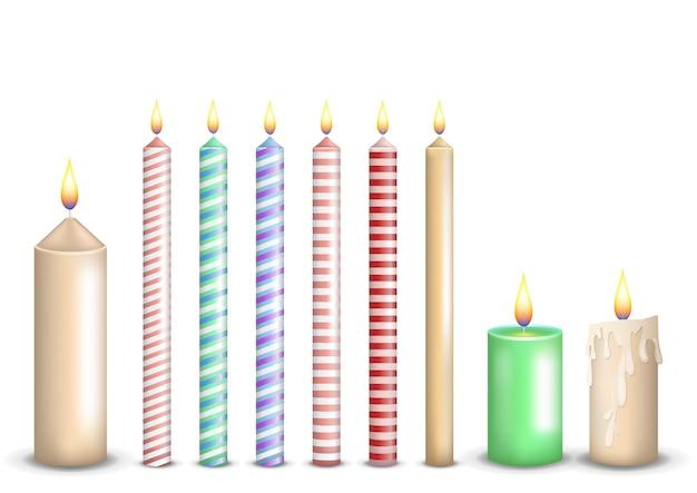 Collection de jeu de bougies colorées réalistes
