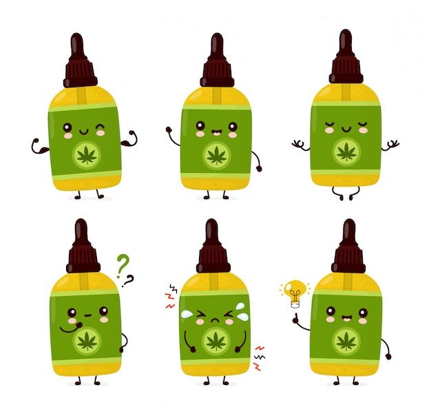 Collection de jeu de bouteilles d'huile de cbd de cannabis drôle heureux mignon.