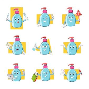 Collection de jeu de caractères de mascotte de dessin animé désinfectant pour les mains