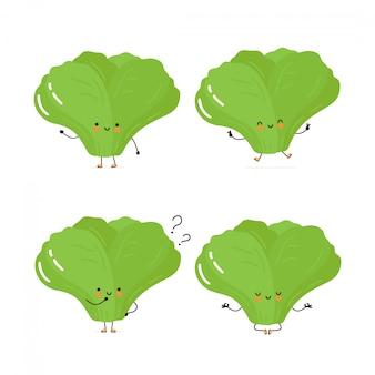 Collection de jeu de caractères mignon heureuse feuille verte salade. isolé sur blanc conception de dessin vectoriel personnage illustration, style plat simple.