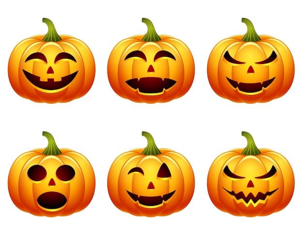 Collection de jeu de citrouille d'halloween