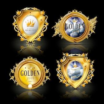 Collection de jeu de conception d'étiquettes dorées attrayantes
