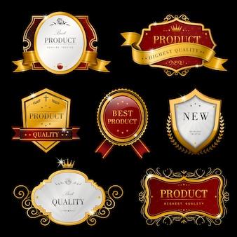 Collection de jeu de conception d'étiquettes dorées premium gracieuses