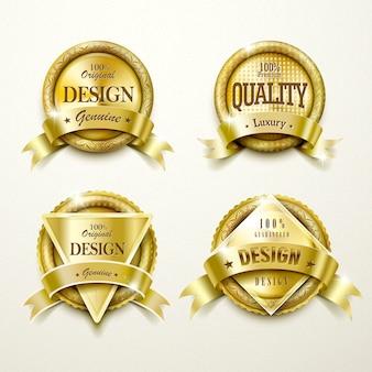 Collection de jeu de conception d'étiquettes d'or modernes