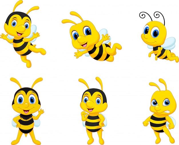 Collection de jeu de dessin animé d'abeille