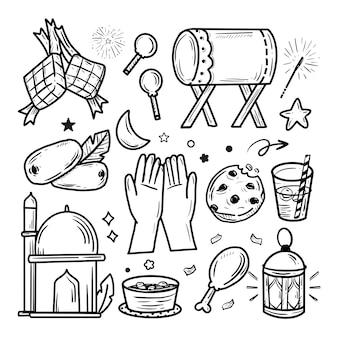 Collection de jeu de doodle autocollant dessiné à la main islamique