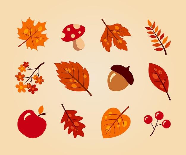 Collection de jeu d'éléments d'automne