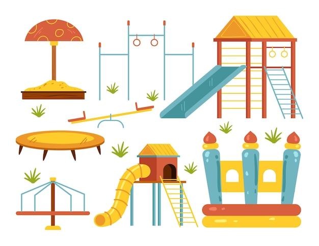 Collection de jeu d'éléments de conception isolés pour aire de jeux pour enfants