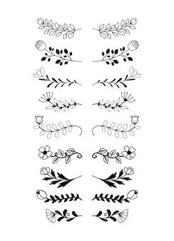 Collection de jeu d'éléments de frontières dessinés à la main, vecteur d'ornement floral swirl