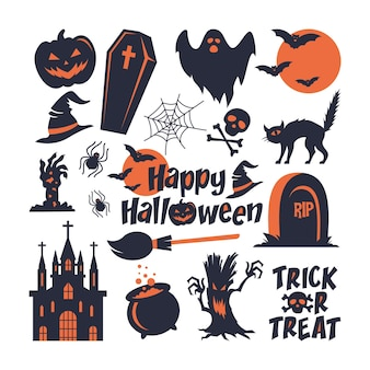 Collection de jeu d'éléments d'halloween