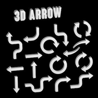Collection de jeu de flèches blanches 3d sur fond noir
