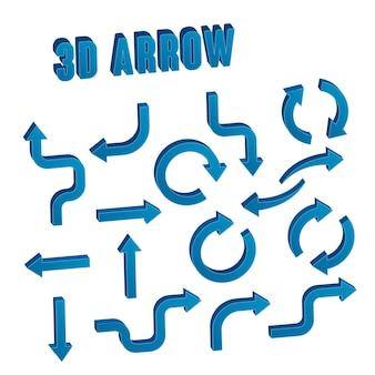 Collection de jeu de flèches bleues 3d sur fond blanc