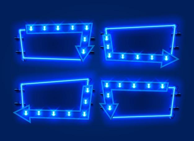 Collection de jeu de flèches cadre néon. élément de conception de modèle.