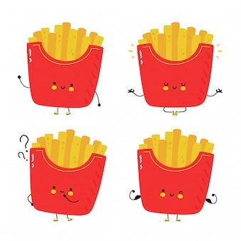 Collection de jeu de frites heureux mignon. isolé sur fond blanc. illustration de style dessiné main personnage de dessin animé