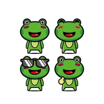 Collection de jeu de grenouilles mignonnes vector illustration grenouille mascotte personnage cartoon style plat