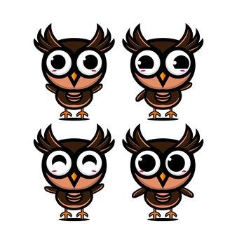 Collection de jeu de hibou mignon vector illustration owl mascotte personnage cartoon style plat