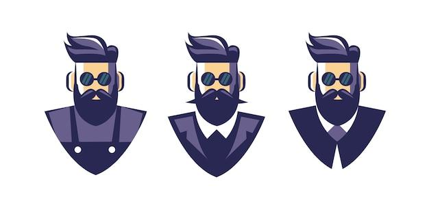 Collection de jeu d'homme de salon de coiffure avec mascotte de logo barbe lourde