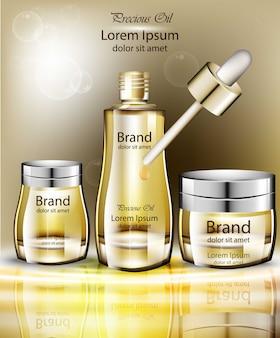 Collection de jeu d'huile cosmétique vector réaliste. les produits d'emballage simulent organique naturel