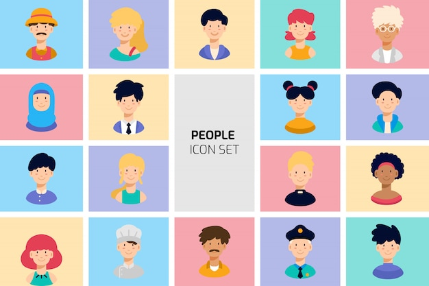 Collection de jeu d'icônes avatar de différentes personnes. illustration vectorielle de dessin animé plat