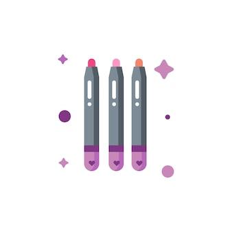 Collection de jeu d'icônes de crayon à lèvres mignon isolé