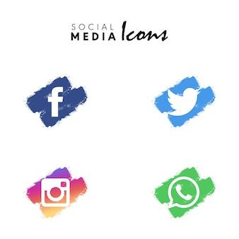 Collection de jeu d'icônes de médias sociaux brosse sec multicolore
