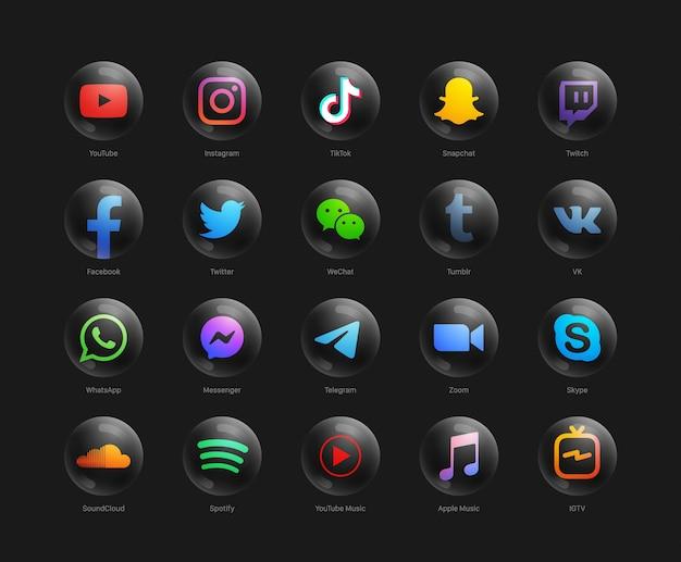 Collection de jeu d'icônes web noir rond moderne de réseau de médias sociaux populaires