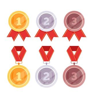 Collection de jeu isolé de médailles d'or, d'argent, de bronze.