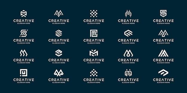 Collection de jeu de lettre m initiale monogramme. symbole de conception de logo de marque lettre créative.