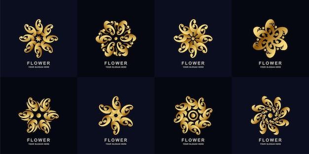 Collection de jeu de logo abstrait fleur ou ornement doré.