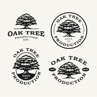 Collection de jeu de logo emblème de chêne vintage