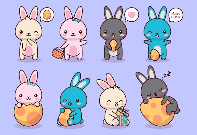Collection de jeu mignon lapin de pâques heureux