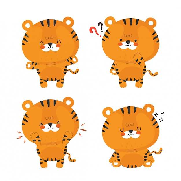 Collection de jeu mignon petit tigre drôle. conception d'icône illustration de personnage de dessin animé.