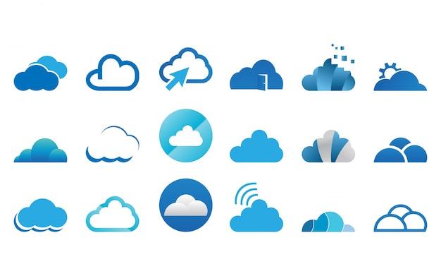 Collection de jeu de modèles de nuage logo icône
