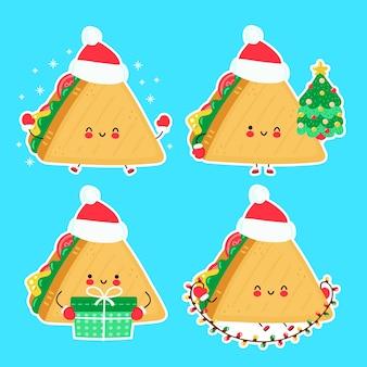 Collection de jeu de noël mignon sandwich drôle heureux. illustration de style dessiné à la main de personnage de dessin animé. concept de noël, nouvel an