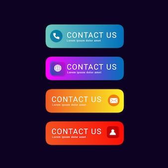 Collection de jeu de nous contacter bouton dégradé coloré foncé barkcground