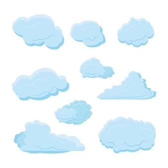 Collection de jeu de nuage avec différentes formes et couleurs bleues avec style plat moderne