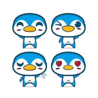 Collection de jeu de pingouin mignon illustration vectorielle du visage de dessin animé plat de personnage de mascotte de pingouin