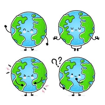 Collection de jeu de planète terre heureuse drôle mignon