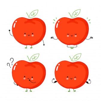 Collection de jeu de pomme drôle heureux mignon. personnage de dessin animé main dessin illustration de style. isolé sur fond blanc