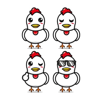 Collection de jeu de poulet mignon vector illustration poulet mascotte personnage plat style cartoon