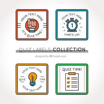 Collection de jeu-questionnaire étiquettes avec des couleurs différentes