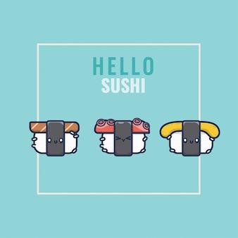 Collection de jeu de sushi heureux mignon