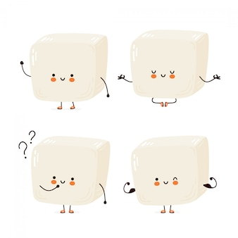 Collection de jeu de tofu drôle mignon heureux. personnage de dessin animé main dessin illustration de style. isolé sur fond blanc