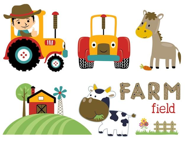 Collection de jeu de vecteur de dessin animé agricole