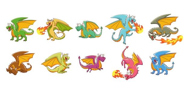 Collection de jeu de vecteur de dragon