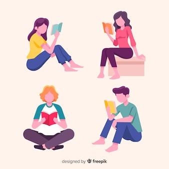 Collection de jeunes lisant