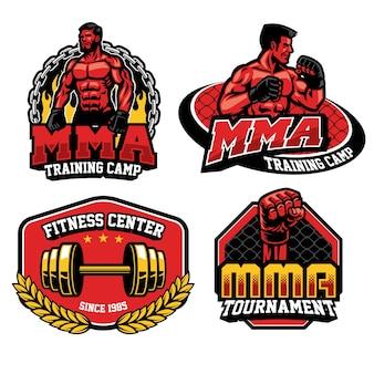 Collection de jeux de badges d'entraînement de combat mma